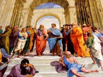 Platón y Aristóteles en La Escuela de Atenas, de Rafael